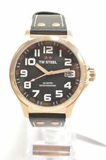TW Steel TW416 Pilot Black Dial Rose Gold PVD Leather Strap  Watch