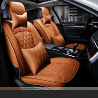 Luxury Full Set 5 Seat PU Leather Brown Car Seat Cover Cushion Auto Accessories