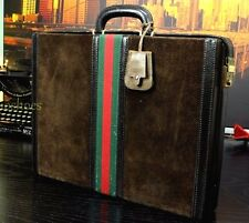 Vintage Multi Tone Red Green Stripe Suede Leather Hard Case Briefcase Bag Mens