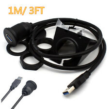 3FT Car Dashboard Flush Mount Male To Female USB 2.0 Extension Lead Panel Cable