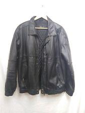 Black Genuine Leather Jacket By Milan Zip Button Jacket Mens Size Medium #94E2