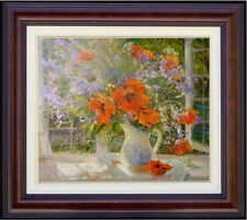 """Hand-painted Original Oil Painting art Floral knife red flower on canvas 20""""x24"""""""