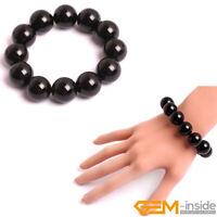 "Natural Black Round Onyx Agate Beaded Healing Stretchy Bracelet Gift 7"" Handmade"