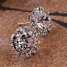 Elegant Women Clear Crystal Sunflower Ladies Ear Stud Earring Fashion Jewelry