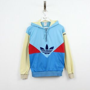 AB16 Vtg Adidas 80s Women Blue Yellow Track Jacket Hoody Pullover West Germany M