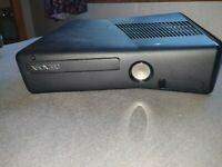 Microsoft Xbox 360 S Black console with power cords + wireless controller (used)