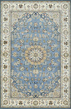 Fine Nain 5'x8' Blue Wool Hand-Knotted Oriental Rug