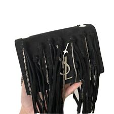 YSL Small Monogram Fringe Crossbody Bag In Suede & Chain RRP £1950