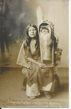 Vintage Native Americana Postcard of Comanche Mother & Papoose by Edward Bates