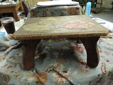 Antique Wood Carved Footstool Made in 1892 Fancy Carved Children Picking Flowers