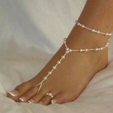 Barefoot Sandals PAIR Pearl Toe Ring Foot Thong Beach Bridal Anklet Wedding