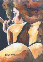 Cohiba Cigar Babe Original Art PAINTING DAN BYL Contemporary Modern 12x18 Inch