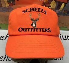 SCHEELS OUTFITTERS vintage SnapBack Hat cap Blaze Orange Deer Hunting Buck