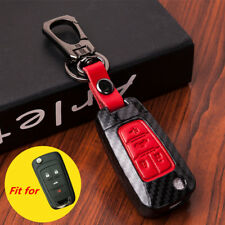 Red Carbon Fiber Leather 4 Buttons Key Case Cover Chain for Chevrolet Buick GMC