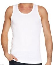 Vests Men's Summer T Shirt 100 Cotton Tank Top Chose Pack Size From Drop Down White Pack of 1 Vest Only Small