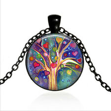 Tree of Hearts Valentine Black Glass Cabochon Necklace chain Pendant Wholesale
