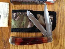 "BEAR & SON CUTLERY USA LARGE TRAPPER 4-1/8"" KNIFE INDIA STAG BONE W CAMO SHEATH"