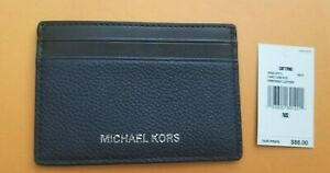 New With Tag Michael Kors 2 Tone Leather Card Case- Navy/Black
