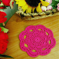 Handmade Round Crochet Cotton Table Cup Mats Placemats Doilies Coasters 16cm Rose Red