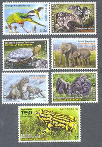 Australia-Critically Endangered Wildlife set 2016 mnh-Birds-Elephant etc