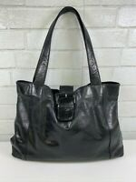 HOBO INTERNATIONAL Black Glazed Leather Shoulder Bag