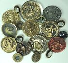 LOT OF 20 ANTIQUE & VINTAGE BUTTONS ~ METAL PICTURE GLASS