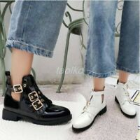 Women Round Toe Low Heels Gladiator Buckle Ankle Boots Shoes Size Hollow out sz