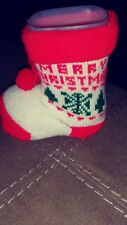 New listing Vintage Christmas Red/White Boot Planter Hard Plastic /Stocking On It