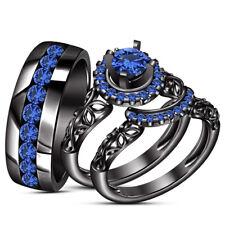 Trio His and Her Sapphire Wedding Black Gold FN Bridal Band Engagement Ring Set