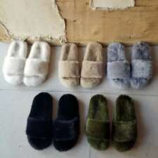 Full Covered Real Mink Fur Slides Slippers Flat Indoor outdoor Sandals Shoes