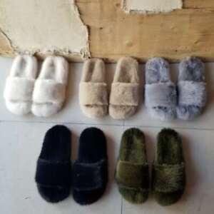 Full Covered Real Mink Fur Slides Slippers Flat Indoor outdoor Sandals Shoes