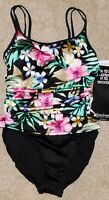 $162 NEW MIRACLESUIT FLORAL MAJORITY ONE-PIECE SLIMMING FAUXKINI SWIMSUIT WOMENS
