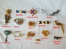 Lot of 15 Brand Name Pins Brooches Jewelry Gerry's, Richelieu, Monet, Blanca etc