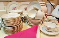 53 pc Set Oneida coronation Fine China Amorous 102 Pink Rose Japan