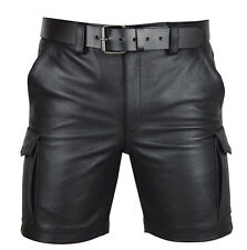 Men's Real Leather Cargo Shorts Gay Shorts Clubwear Shorts + Free Leather Belt