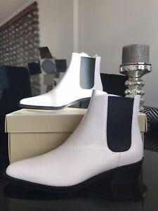 Michael Kors Lottie Flat Boots Cream Leather Size UK4 RRP £225