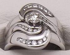 SOLID 18CT WHITE GOLD DIAMOND ENGAGEMENT,WEDDING&ETERNITY RING SET-VALUED $4105