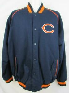 Chicago Bears Mens Size Large Snap Up Embroidered Twill Jacket ABEA 158