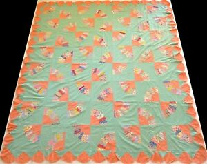 Antique 1920's Hand Stitched Peach & Green Feed Sack Fan Quilt Top 92x80