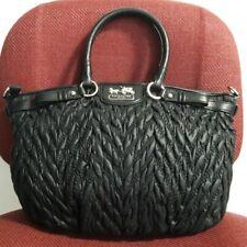 AUTHENTIC COACH MADISON QUILTED NYLON SOPHIA SATCHEL BAG PURSE 18637 BLACK $358