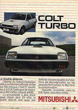 PUBLICITE ADVERTISING  1983   MITSUBISHI  COLT   la Turbo