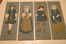 HAND PAINTED ON WOOD 2 SETS--4 PANELS 1940's-50's--SIGNED  HENRY