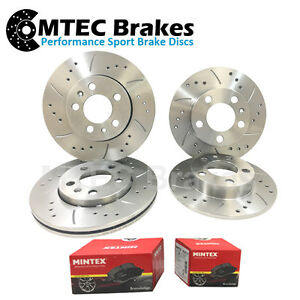 Saab 9-3 Estate 2.8 T AWD 07- Front Rear Brake Discs & Pads Drilled Grooved