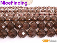 AAA Natural Faceted Brown Smoky Quartz Loose Stone Beads For Jewelry Making 15""