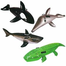Pool Toys Floating Riders w/ Handles Dolphin Crocodile Whale Shark Kids Set of 4