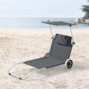 Sonnenliege Gartenliege Strandliege Transportliege mit Sonnendach Rollbar Grau