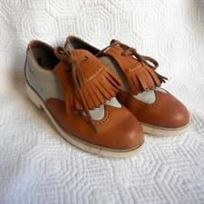 Mephisto Golf Women's Golf Shoes Saddle Brown and Ivory Leather Oxfords Size 6.5