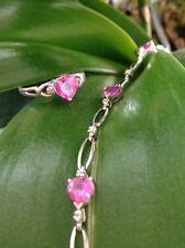 10K White real Gold Set Bracelet & Ring Diamond & Pink Topaz Heart Great Gift