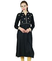 Bimba Women Black Embridered Straight Kurta Kurti Long Tunic Full Sleeve Blouse