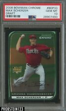 2008 Bowman Chrome Max Scherzer Diamondbacks RC Rookie PSA 10 GEM MINT